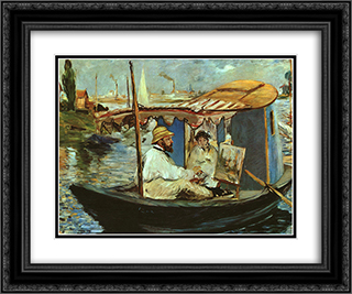 Claude Monet working on his boat in Argenteuil 24x20 Black or Gold Ornate Framed and Double Matted Art Print by Edouard Manet