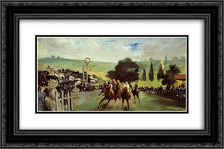 Racetrack near Paris 24x16 Black or Gold Ornate Framed and Double Matted Art Print by Edouard Manet