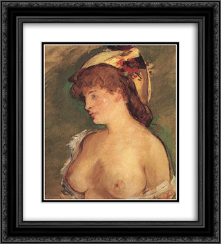 Blonde Woman with Bare Breasts 20x22 Black or Gold Ornate Framed and Double Matted Art Print by Edouard Manet