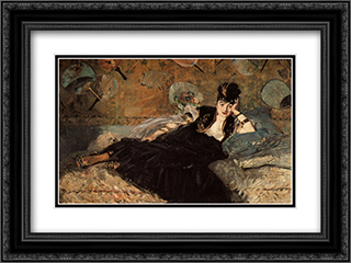 Woman with Fans 24x18 Black or Gold Ornate Framed and Double Matted Art Print by Edouard Manet