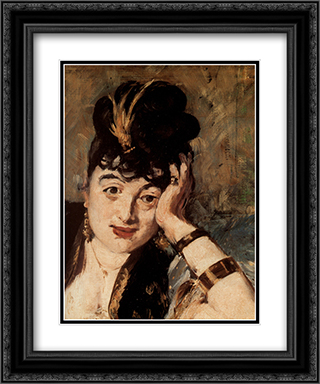 Woman with Fans [detail] 20x24 Black or Gold Ornate Framed and Double Matted Art Print by Edouard Manet
