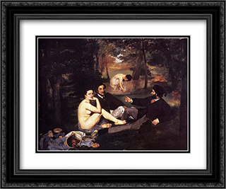Dejeuner Sur L'Herbe 24x20 Black or Gold Ornate Framed and Double Matted Art Print by Edouard Manet