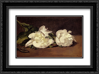 Branch Of White Peonies With Pruning Shears 24x18 Black or Gold Ornate Framed and Double Matted Art Print by Edouard Manet