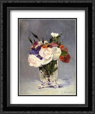 Flowers In A Crystal Vase 20x24 Black or Gold Ornate Framed and Double Matted Art Print by Edouard Manet