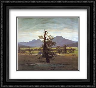 Landscape with Solitary Tree 22x20 Black or Gold Ornate Framed and Double Matted Art Print by Caspar David Friedrich
