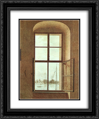 View from the Painter's Studio 20x24 Black or Gold Ornate Framed and Double Matted Art Print by Caspar David Friedrich