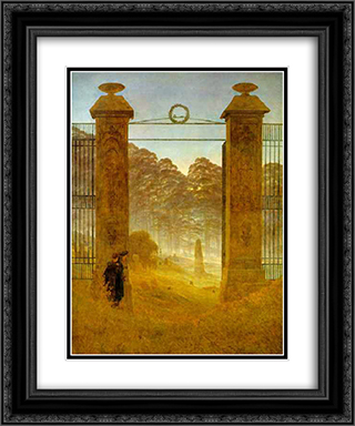 Cemetery at Dusk 20x24 Black or Gold Ornate Framed and Double Matted Art Print by Caspar David Friedrich