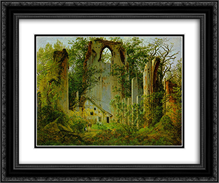 Eldena Ruin 24x20 Black or Gold Ornate Framed and Double Matted Art Print by Caspar David Friedrich