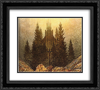 The Cross on the Mountain, Kunstmuseum at Dusseldorf 22x20 Black or Gold Ornate Framed and Double Matted Art Print by Caspar David Friedrich
