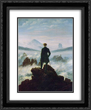Wanderer above the Sea of Fog 20x24 Black or Gold Ornate Framed and Double Matted Art Print by Caspar David Friedrich