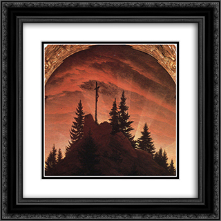 The Cross in the Mountains 20x20 Black or Gold Ornate Framed and Double Matted Art Print by Caspar David Friedrich