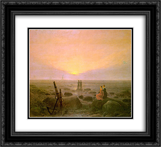 Moon rising over Sea 22x20 Black or Gold Ornate Framed and Double Matted Art Print by Caspar David Friedrich
