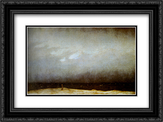 Capuchin Friar By The Sea 24x18 Black or Gold Ornate Framed and Double Matted Art Print by Caspar David Friedrich