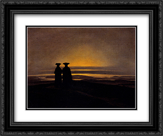 Sunset (Brothers) 24x20 Black or Gold Ornate Framed and Double Matted Art Print by Caspar David Friedrich