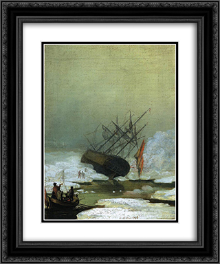Wreck in the Sea of Ice 20x24 Black or Gold Ornate Framed and Double Matted Art Print by Caspar David Friedrich