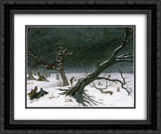 Winter Landscape 24x20 Black or Gold Ornate Framed and Double Matted Art Print by Caspar David Friedrich