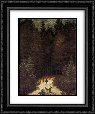 The Chasseur in the Forest 20x24 Black or Gold Ornate Framed and Double Matted Art Print by Caspar David Friedrich