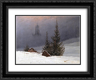 Winter Landscape with Church 24x20 Black or Gold Ornate Framed and Double Matted Art Print by Caspar David Friedrich