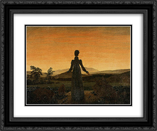 Woman before the Rising Sun (Woman before the Setting Sun) 24x20 Black or Gold Ornate Framed and Double Matted Art Print by Caspar David Friedrich