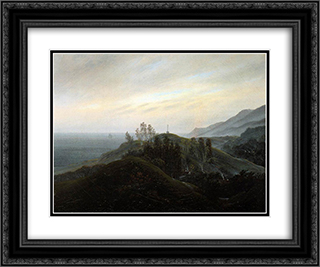 View of the Baltic 24x20 Black or Gold Ornate Framed and Double Matted Art Print by Caspar David Friedrich