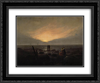 Moonrise by the Sea 24x20 Black or Gold Ornate Framed and Double Matted Art Print by Caspar David Friedrich