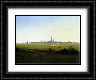 Meadows near Greifswald 24x20 Black or Gold Ornate Framed and Double Matted Art Print by Caspar David Friedrich