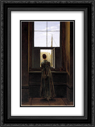 Woman at a Window 18x24 Black or Gold Ornate Framed and Double Matted Art Print by Caspar David Friedrich