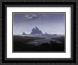 Rocky Reef on the Sea Shore 24x20 Black or Gold Ornate Framed and Double Matted Art Print by Caspar David Friedrich