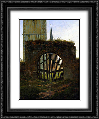 The Cemetery Gate (The Churchyard) 20x24 Black or Gold Ornate Framed and Double Matted Art Print by Caspar David Friedrich