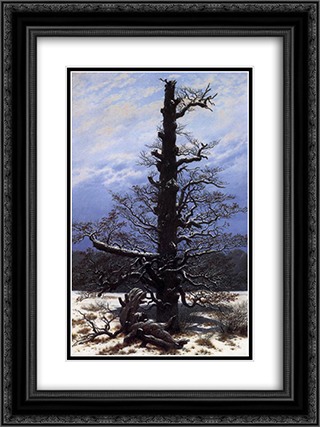 The Oaktree in the Snow 18x24 Black or Gold Ornate Framed and Double Matted Art Print by Caspar David Friedrich