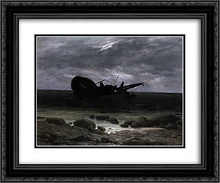 Wreck in the Moonlight 24x20 Black or Gold Ornate Framed and Double Matted Art Print by Caspar David Friedrich