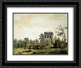 Landscape with Pavilion 24x20 Black or Gold Ornate Framed and Double Matted Art Print by Caspar David Friedrich