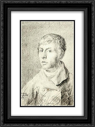 Self'Portrait 18x24 Black or Gold Ornate Framed and Double Matted Art Print by Caspar David Friedrich