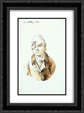 Self'Portrait with Cap and Sighting Eye'Shield 18x24 Black or Gold Ornate Framed and Double Matted Art Print by Caspar David Friedrich