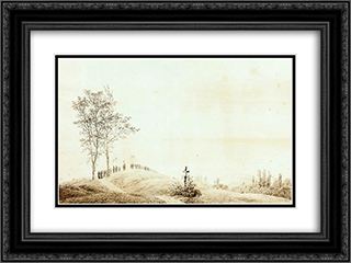 Pilgrimage at Sunset (Sunrise) 24x18 Black or Gold Ornate Framed and Double Matted Art Print by Caspar David Friedrich