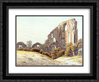 The Ruins of Eldena 24x20 Black or Gold Ornate Framed and Double Matted Art Print by Caspar David Friedrich