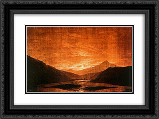 Mountainous River Landscape (Night Version) 24x18 Black or Gold Ornate Framed and Double Matted Art Print by Caspar David Friedrich