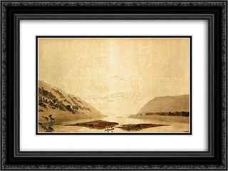 Mountainous River Landscape (Day Version) 24x18 Black or Gold Ornate Framed and Double Matted Art Print by Caspar David Friedrich