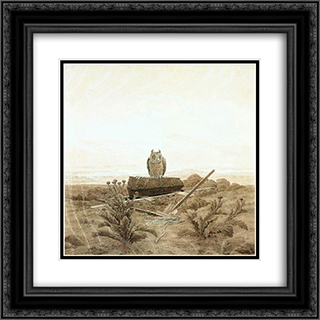 Landscape with Grave, Coffin and Owl 20x20 Black or Gold Ornate Framed and Double Matted Art Print by Caspar David Friedrich