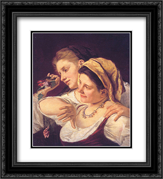Two Women Throwing Flowers During Carnival 20x22 Black or Gold Ornate Framed and Double Matted Art Print by Mary Cassatt