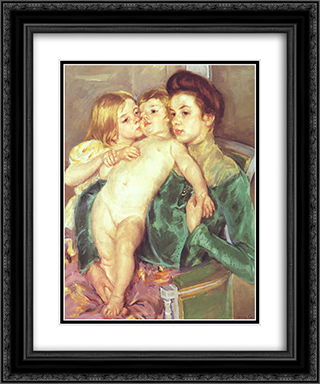 The Caress 20x24 Black or Gold Ornate Framed and Double Matted Art Print by Mary Cassatt