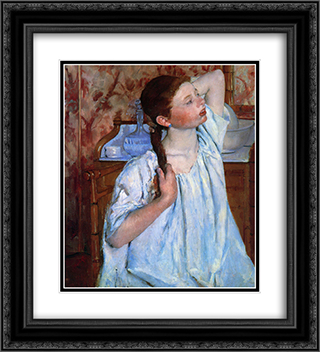 Girl Arranging Her Hair 20x22 Black or Gold Ornate Framed and Double Matted Art Print by Mary Cassatt