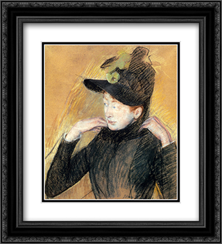 Woman Arranging Her Veil 20x22 Black or Gold Ornate Framed and Double Matted Art Print by Mary Cassatt
