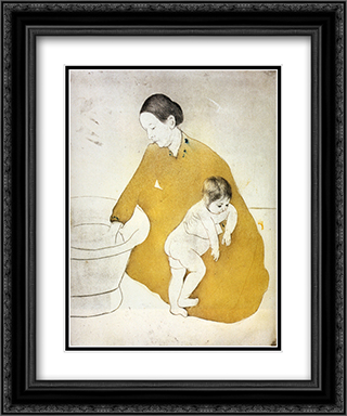 The Bath 20x24 Black or Gold Ornate Framed and Double Matted Art Print by Mary Cassatt
