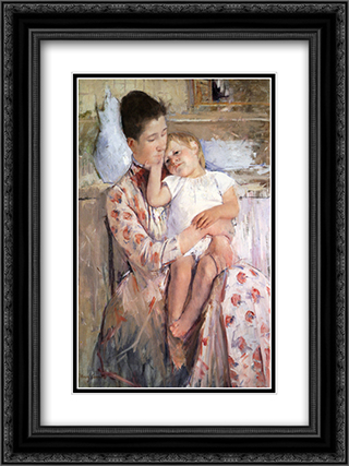 Mother And Child 18x24 Black or Gold Ornate Framed and Double Matted Art Print by Mary Cassatt