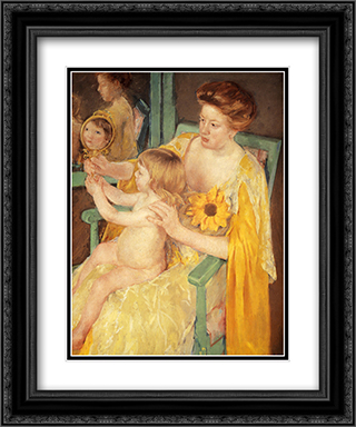 Mother Wearing A Sunflower On Her Dress 20x24 Black or Gold Ornate Framed and Double Matted Art Print by Mary Cassatt