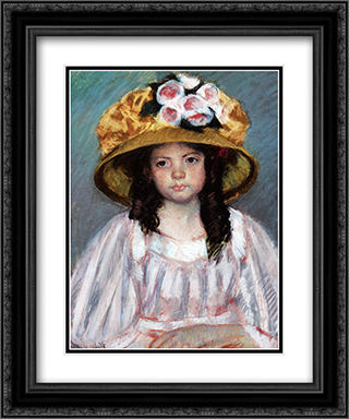 Fillette Au Grand Chapeau 20x24 Black or Gold Ornate Framed and Double Matted Art Print by Mary Cassatt