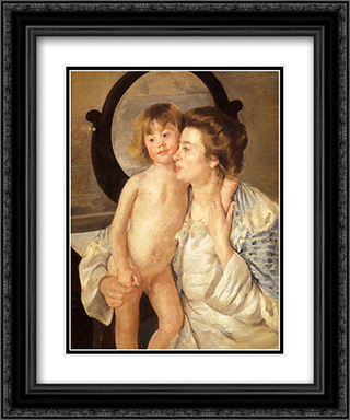 Mother And Child (The Oval Mirror) 20x24 Black or Gold Ornate Framed and Double Matted Art Print by Mary Cassatt