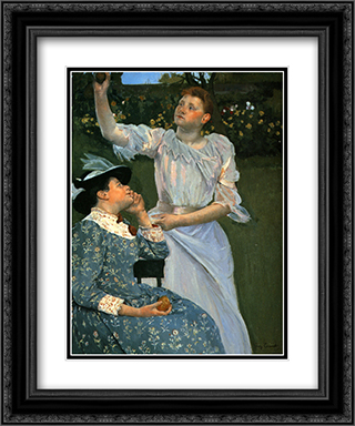 Young Women Picking Fruit 20x24 Black or Gold Ornate Framed and Double Matted Art Print by Mary Cassatt