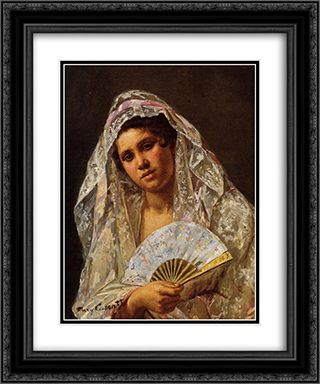 A Seville Belle 20x24 Black or Gold Ornate Framed and Double Matted Art Print by Mary Cassatt